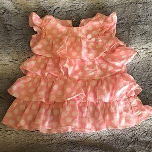 Pink and white ruffle polka dot dress